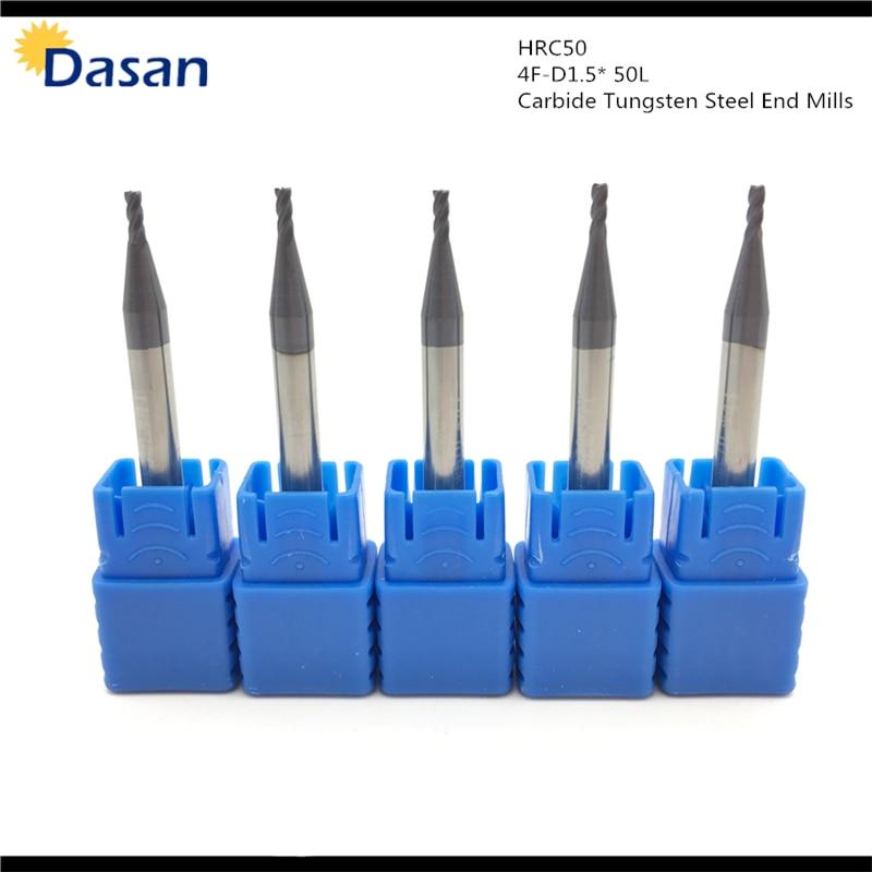 endmill 1mm 1.5mm 2mm 2.5mm 3mm 4mm 4 Blade HRC50 Carbide Square Flat Endmill Spiral Knife CNC Milling Cutter End Mill