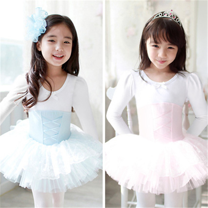 New Ballet Tutu Dancewear Girls Long Sleeve Ballet Cloth Costumes Cotton Toddler Leotard Professional Tutus Ballerina Dress Kids