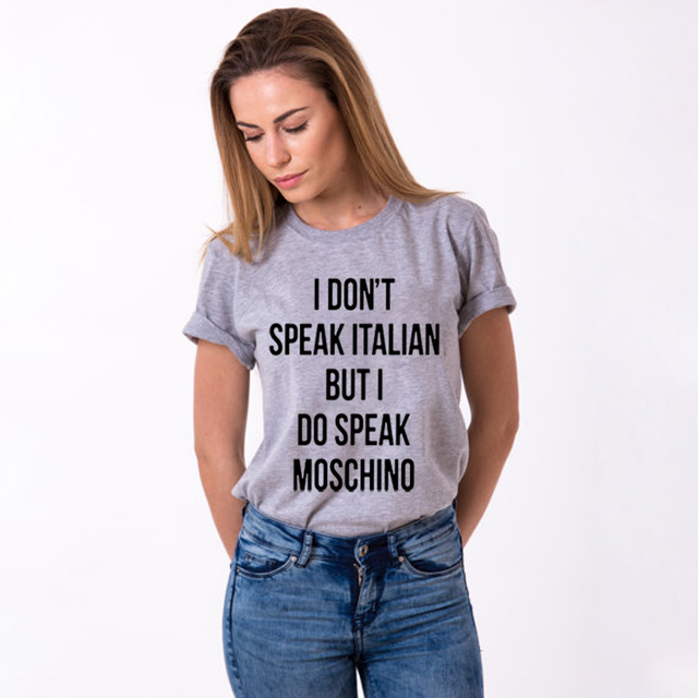 0f333884311df I don't speak Italian but I do speak Letter Print Women Tshirts Cotton  Casual Funny T Shirt Girl Top Tee Femme Harajuku