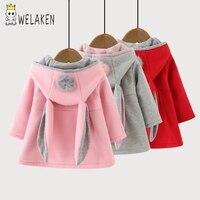 Hot Sale 2016 Children Coats Autumn Winter Long Sleeve Cute Cartoon Rabbit Ear Hooded Kids Hoodies