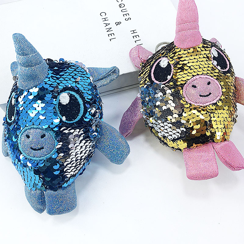 New sequined Unicorn doll key chain with built in PP cotton padding fashion lady bag hanging decoration in Key Chains from Jewelry Accessories