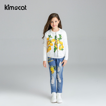 Kimocat Spring Autumn Girls Clothes Kids Jacket+Tshirt+Jeans+Tracksuit For Girls Sport Suit Casual Children Clothing Sets budingxiong 2018 brand children sets fashion ripped kids jeans unisex clothes spring autumn children s wear boys girls jeans