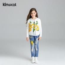 цена Kimocat Spring Autumn Girls Clothes Kids Jacket+Tshirt+Jeans+Tracksuit For Girls Sport Suit Casual Children Clothing Sets онлайн в 2017 году