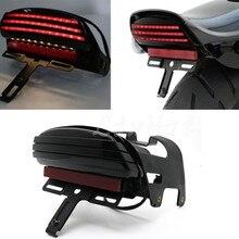 Мотоцикл дым три бар светодиодный сигнал поворота в крыло задний фонарь номерной знак кронштейн для Harley Softail FXST