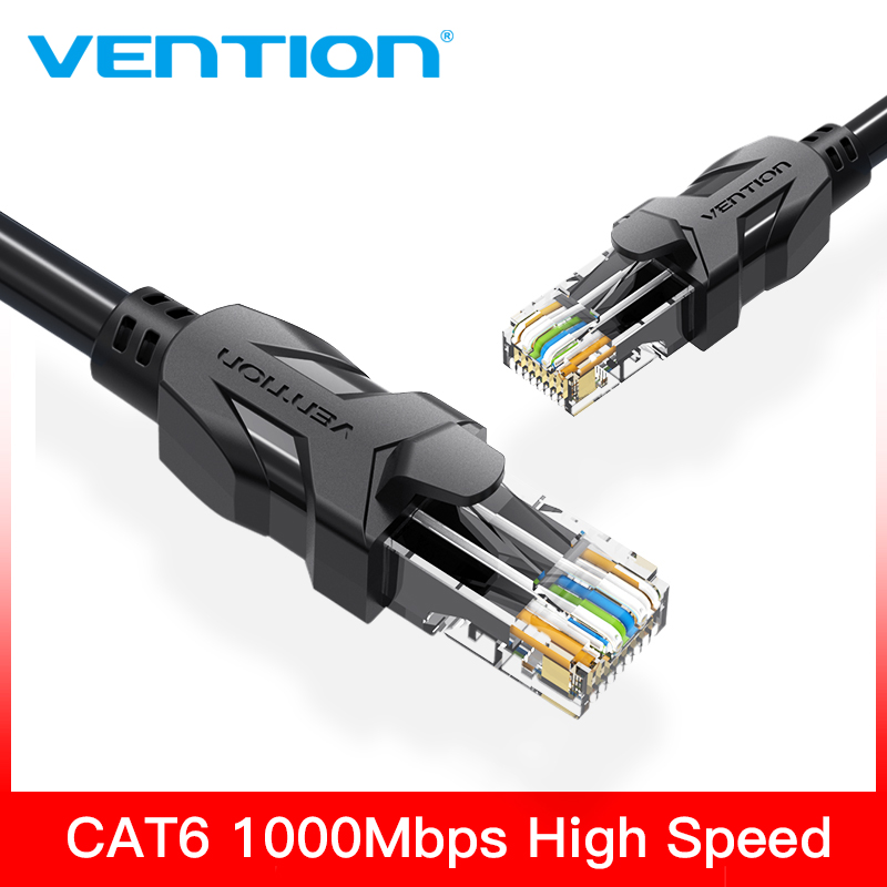 Conector Vention rj45 Cable Ethernet de alta velocidad UTP CAT 6 Cable de red Gigabit plano Cable RJ45 Patch LAN para PC Enrutador portátil