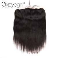 Oxeye girl Peruvian Hair Straight Pre Plucked Lace Frontal Closure With Baby Hair 13x4 Closure Remy Human Hair Bundles 1 Pc
