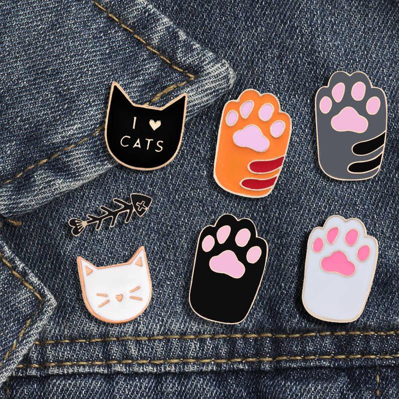1 adet sevimli karikatür kedi renkli ayak pimleri akrilik rozetleri broş yaka iğnesi kadın kıyafetleri sırt çantası üzerinde aksesuarları takı