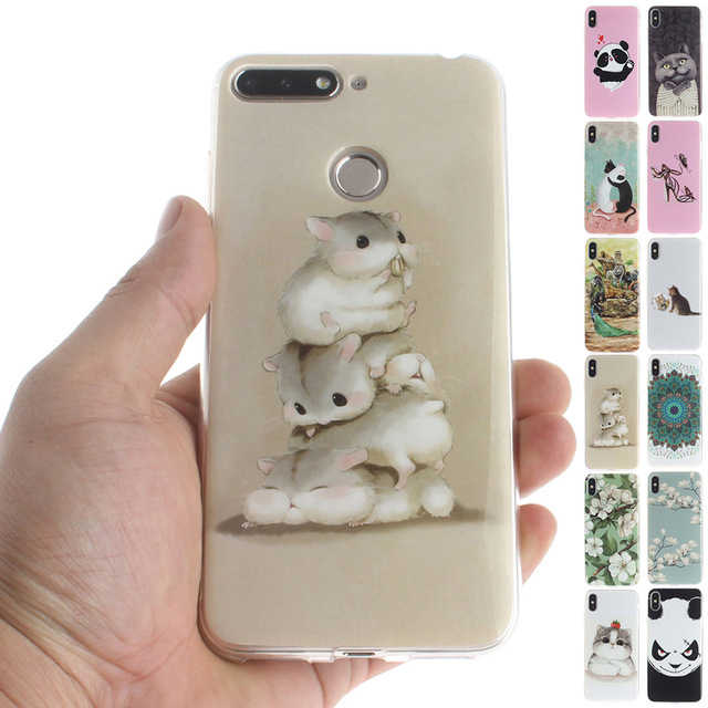 Colorful Animals Phone Case For Huawei P Smart Plus Case For Huawei Nova 3i Capa P10 Lite Honor 7A Pro Cartoon Cat TPU Cover