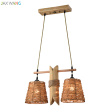 цены Japanese Rattan Bamboo Pendant Lights Hemp Rope Light Chinese Lamps Lanterns Restaurant Farmhouse Bar Wooden Hanging Fixture