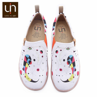 UIN Art Hand painted Women Loafers Wide Feet White Canvas Shoes Ladies Walking Sneakers Lightweight Round Toe Comfort Shoes