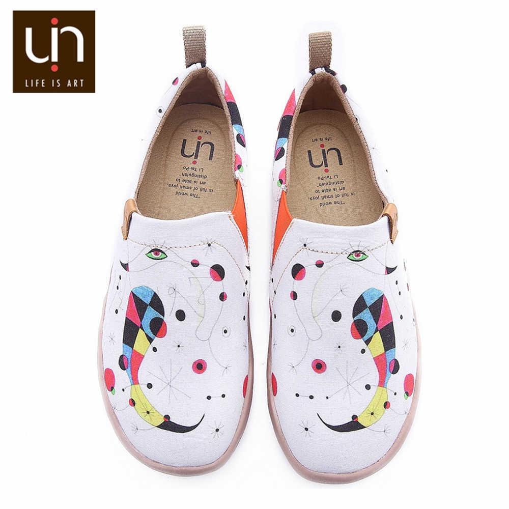 UIN Schuhe Frau Kunst Hand bemalt Breite Frauen Schuhe Weiß Casual Leinwand Schuhe Damen Wanderschuhe Leichte Komfort Schuhe