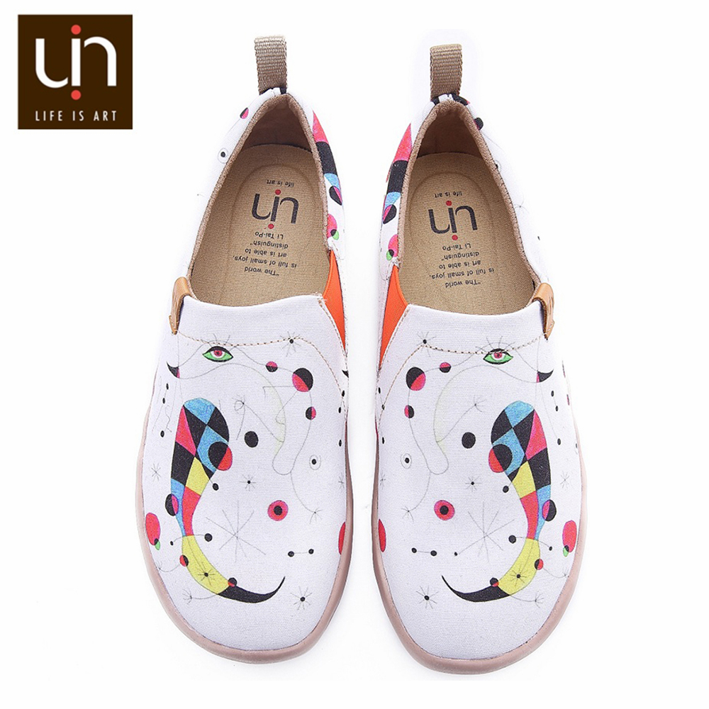 UIN Shoes Woman Art Hand-painted Wide Women Shoes White Casual Canvas Shoes Ladies Walking Sneakers Lightweight Comfort Shoes