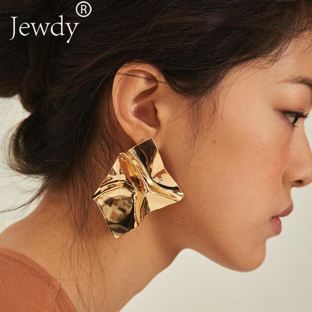 Gold Silver Statement Wrinkled Metal Stud Earrings Irregular Geometric Exaggeration Earring Women Jewelry Minimalist Punk Style