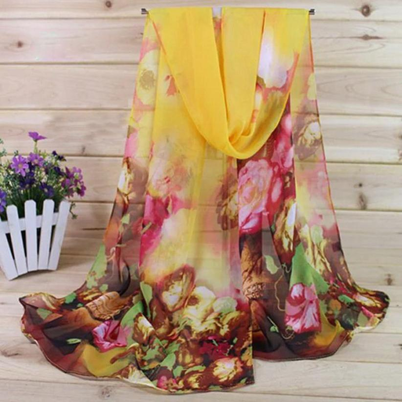 KANCOOLD Scarf New High Quality Chiffon Fashion Lady Women Scarf Floral Prints Shawl Wrap Scarf Luxury Brand Jan26