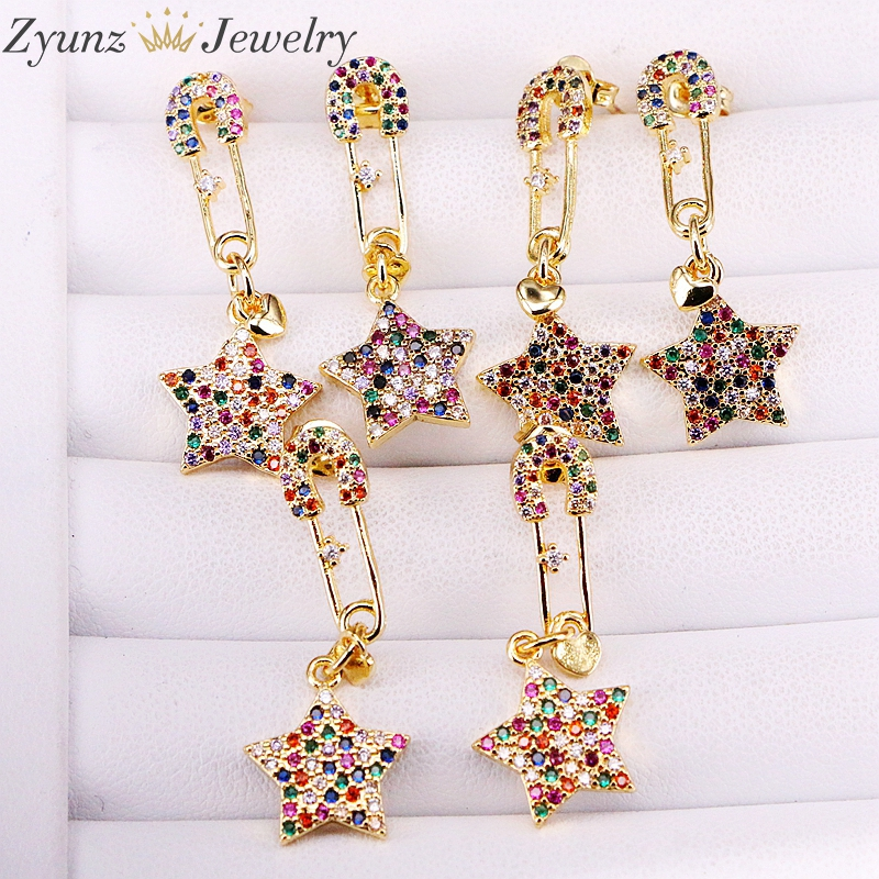 5 Pairs Fashion New Rainbow Cz Jewelry Unique Gold-color Pin Earring Star Dangle Earrings for Women