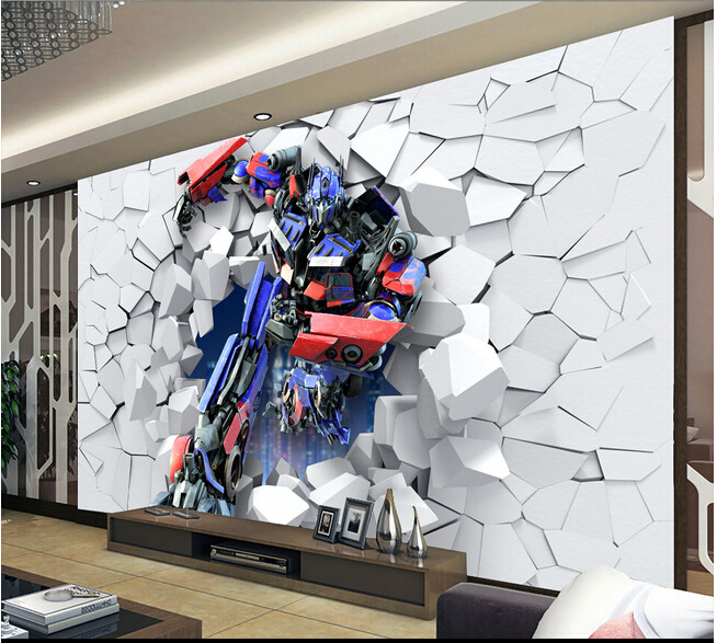 Custom children wallpaper, 3 d robot large murals for
