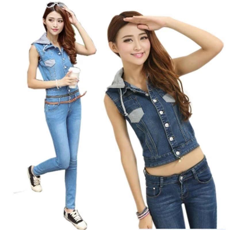 Весенние джинсовые комбинезоны с капюшоном для женщин, Отделяемый джинсовый костюм, Обтягивающие Комбинезоны без рукавов на молнии, однобортный Тонкий джинсовый карандаш