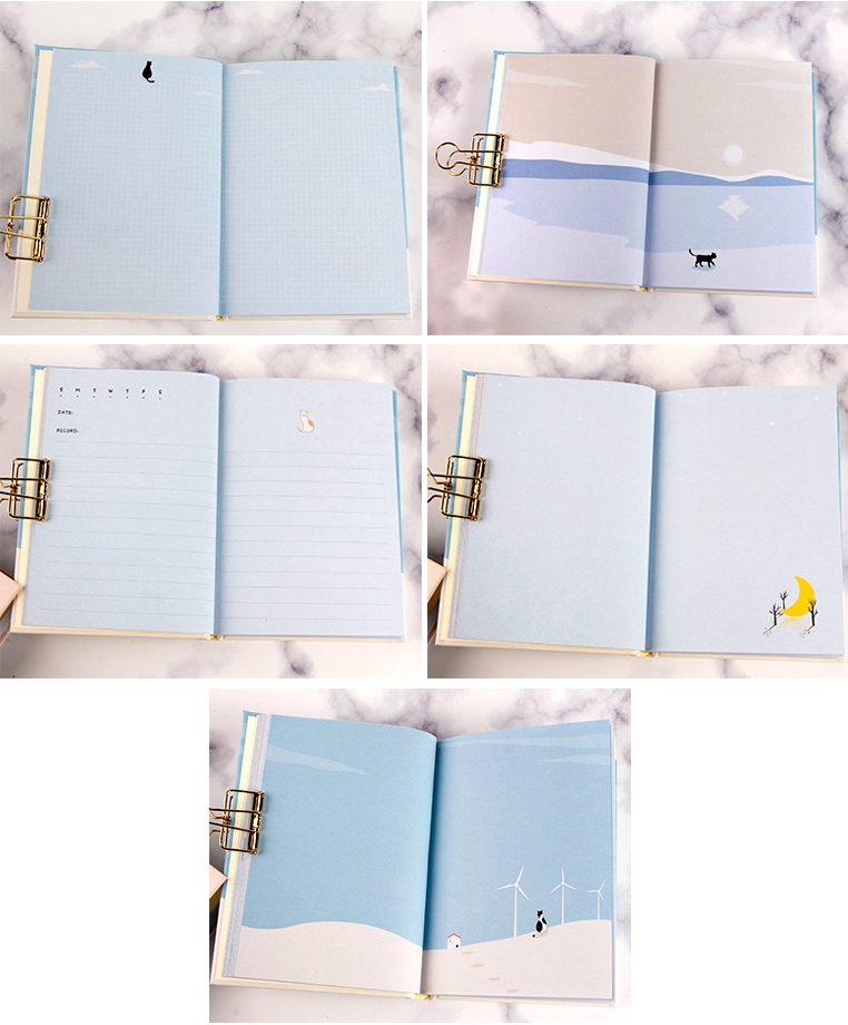 """Image 5 - """"Cats Journey"""" Diary with Lock Notebook Cute Functional Planner Lock Book Dairy Journal Stationery Gift Box Package-in Notebooks from Office & School Supplies"""