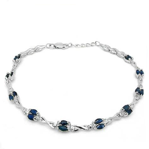 Qi Xuan_Free Mail Dark Blue Stone Bracelets_S925 Solid Silver Fashion Dark Blue Stone Bracelets_Manufacturer Directly Sales