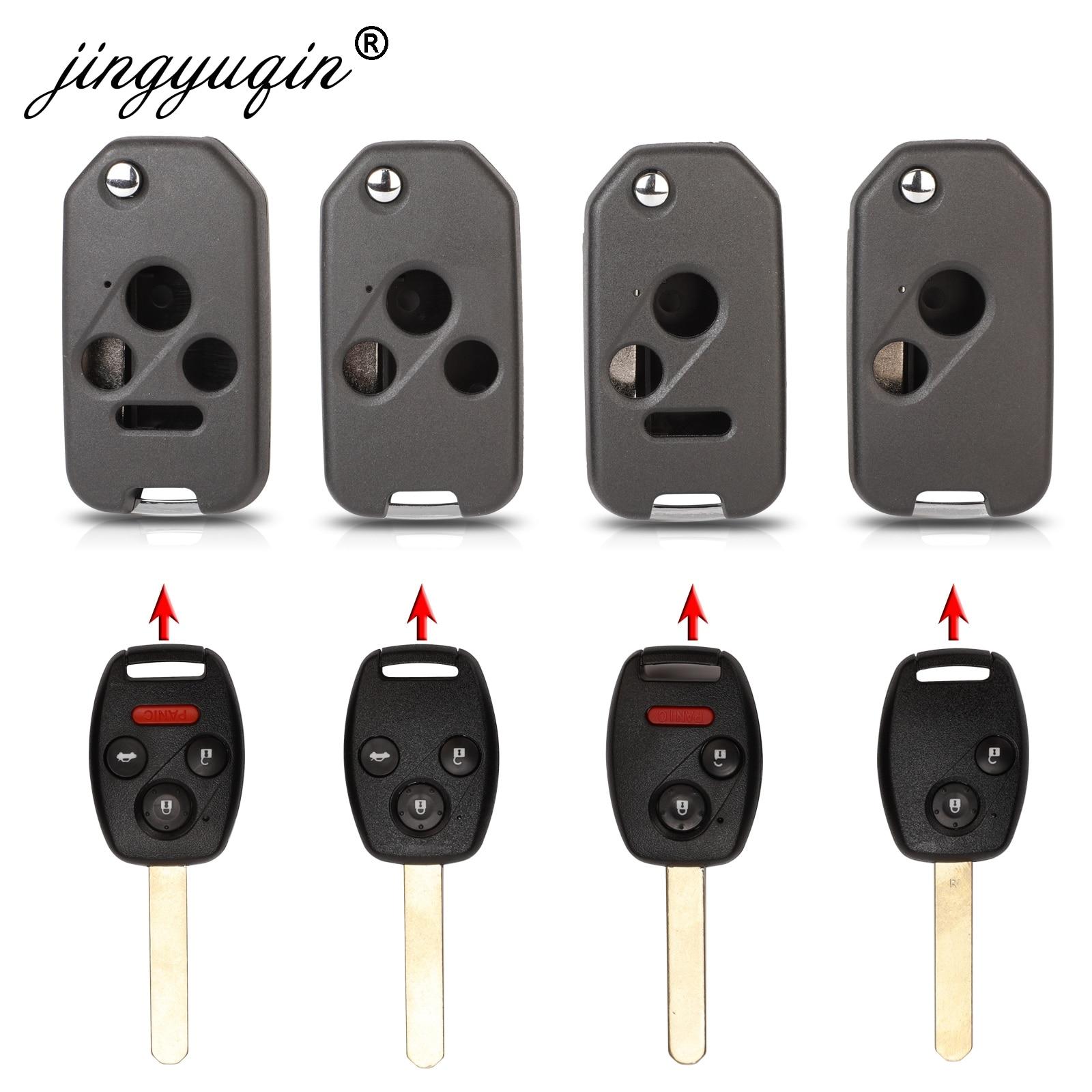 3 button Flip Remote Key Fob Shell  For Honda Jazz Civic Accord CRV FRV HRV