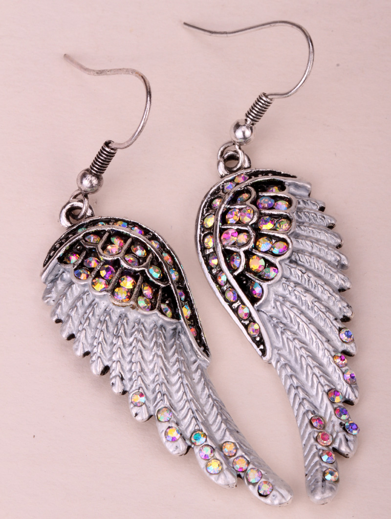 Angel wings dangle earrings antique gold silver plated W crystal women biker bling jewelry gifts wholesale