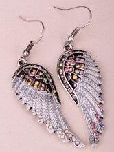 Angel wings dangle earrings antique gold silver plated W crystal women biker bling jewelry gifts wholesale dropshipping EC23