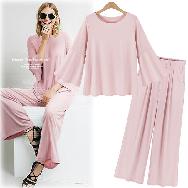 Autumn Spring Women Sets Long Sleeve T-shirt + Elastic Waist Wide Leg Pants 2 Pieces Female Casual Suit Plus Size 5XL JA4061