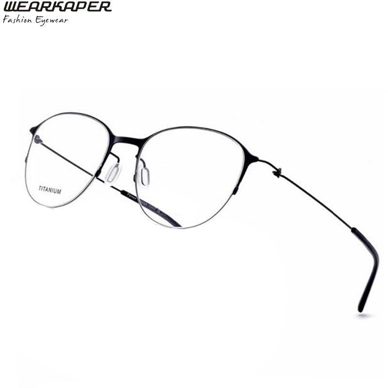 WEARKAPER Prescription titane lunettes cadres femmes marque Designer femme ronde lunettes rouge plein optique cadre ip placage