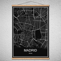 Find all china products on sale from monica art on aliexpress madrid spain modern poster world city map canvas birch scroll oil painting abstract with frame posters gumiabroncs Gallery