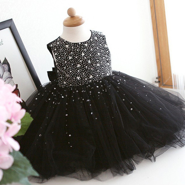 Ls 1 Baby Clothes Black Dress Decorated With Diamonds Shiny Party