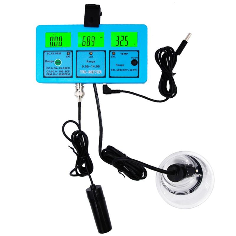 Water Quality Analysis Tester Monitor Multi-Parameter Aquarium Water Meter for Test PH/Temperature/EC/CF/ TDS Kits PH Meter