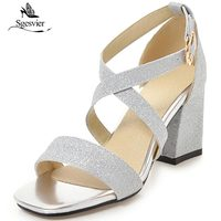 SGESVIER Summer New Arrival Women Sandals Thick High Heels Open Toe Gold Silver Party Wedding Shoes Lady Size 32 43 OX368