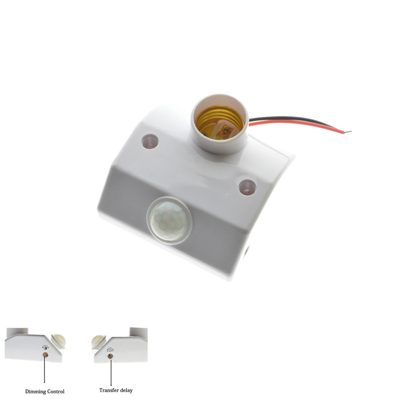 Human Body Induction E27 Holder With Automatic Body Infrared IR Sensor PIR Motion Detector Adjustable Time&Sensitivity