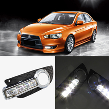 Brand New Updated LED Daytime Running Lights DRL With Black Foglight Cover For Mitsubishi Lancer-ex цена