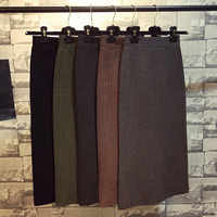 Hanyiren Pencil Skirt High Waist 2019 Autumn Winter Women Elegant Knitted Bodycon Skirt Black Solid Ladies Office Wear Skirts