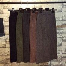 Hanyiren jupe crayon taille haute 2020 automne hiver femmes élégant tricoté moulante jupe noir solide dames tenue de bureau jupes
