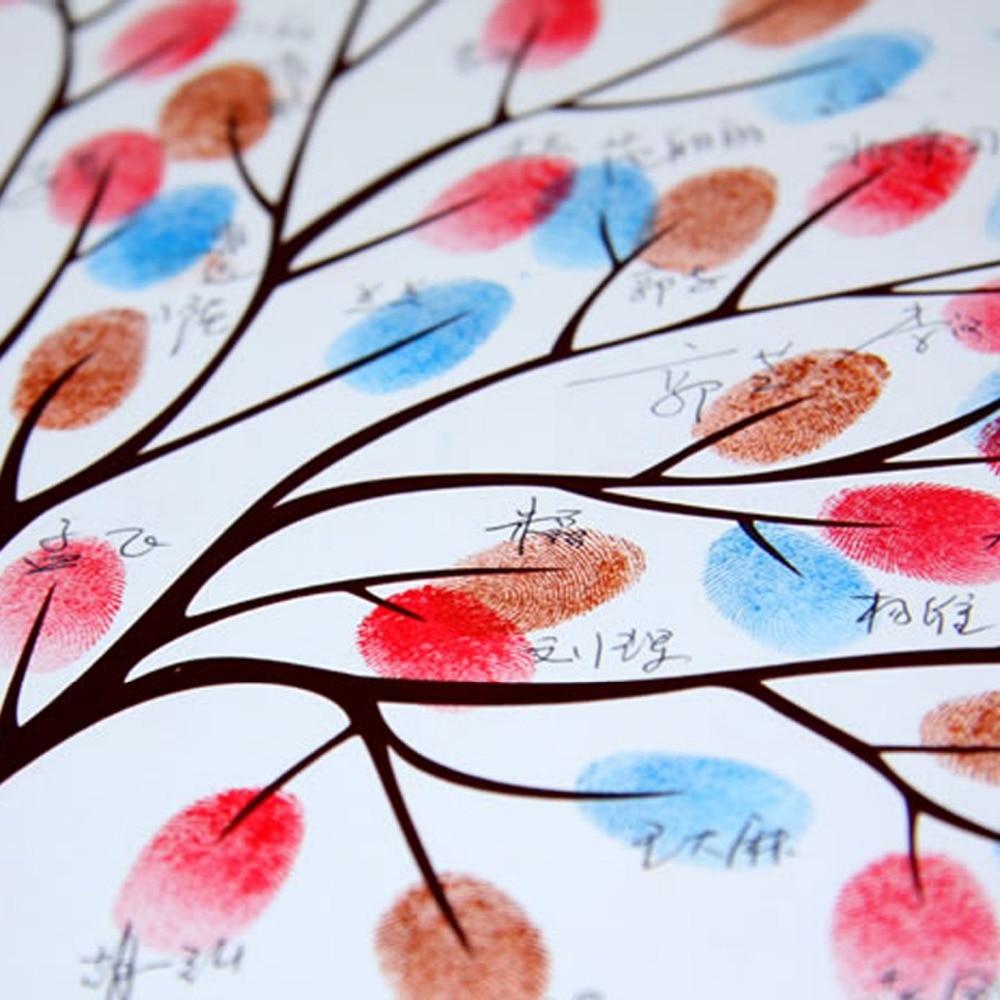 Prstni odtis drevo podpis platno poslikava zelena drevesa poročno - Prazniki in zabave - Fotografija 6