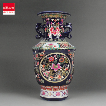 Jingdezhen porcelain enamel blue mesa classical ears medium decorative vase ornaments a housewarming gift