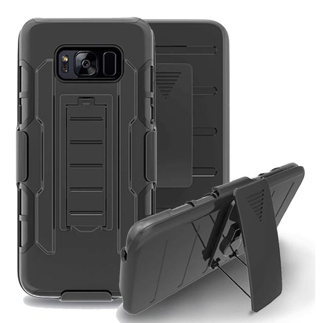 reputable site 3789d df1b5 US $7.7 |Armor Case For Samsung Galaxy S8 Case Hybrid 3 in 1 Belt Clip  Stand Shockproof Rugged Silicone Cover For Galaxy S8 Plus Case-in Fitted  Cases ...