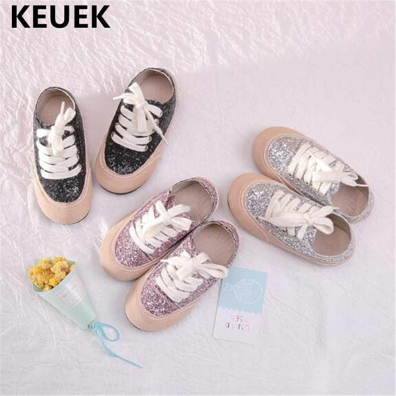 New Children Shoes Fashion Glitter Lace-Up Leather Shoes Girls Boys  Breathable Insole Leather Baby cef7cd426c08