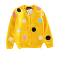 2016 Autumn New Baby Girl Sweater Long Sleeve Kids Cardigan Jackets Girls Outerwear Colorful Polka Dot Children Knitted Sweater