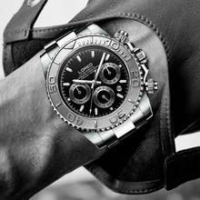 6326b8c1897 Fashione LOREO Marca Men Relógio Mecânico Automático Data Papel  Submarinista luxo Relógio Masculino 200 m mergulho Relogio mascu.