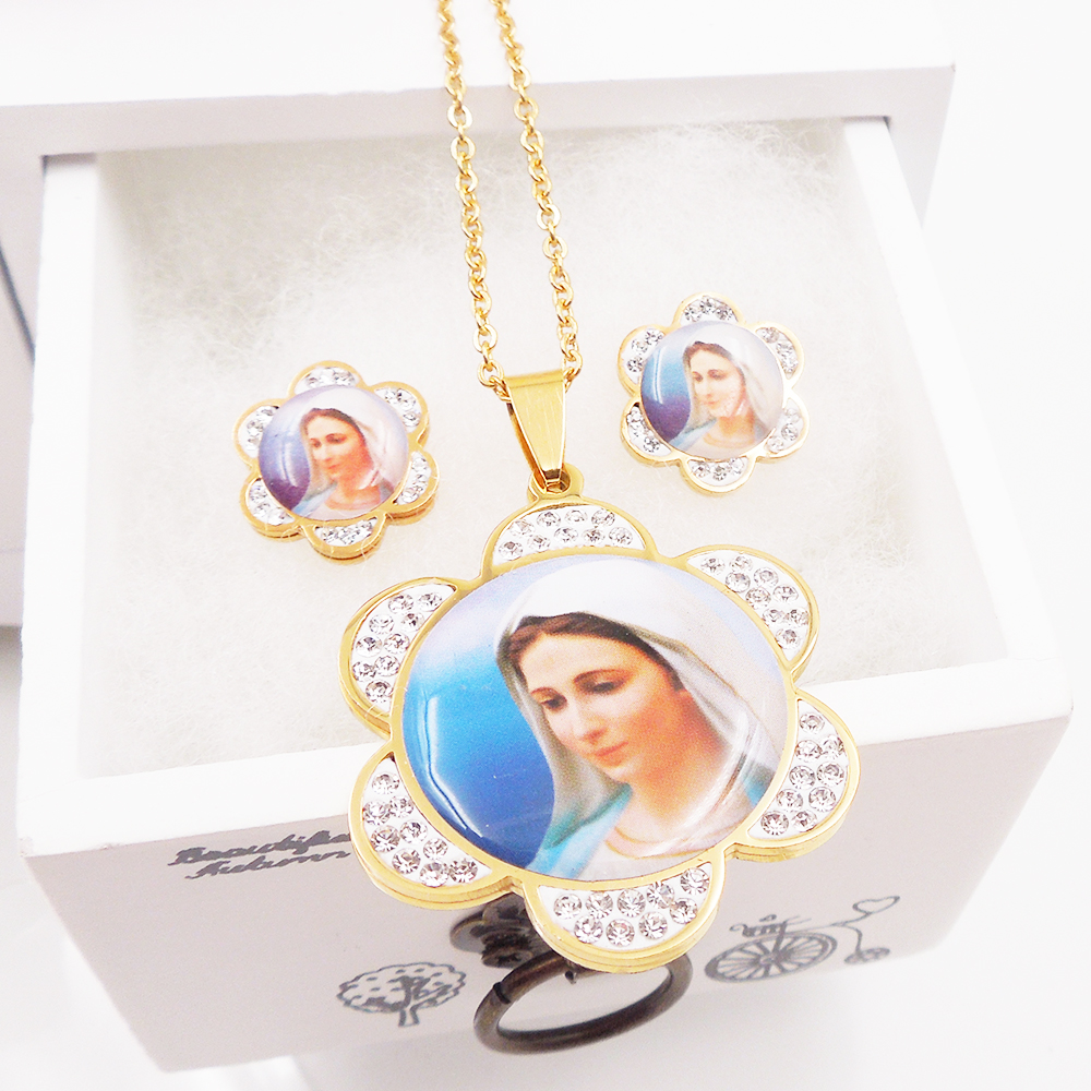 Cute Women 316L Stainless Steel Jewelry Party,Virgin Mary Rhinestone Earrings F Pendant Necklace Set EV-G209