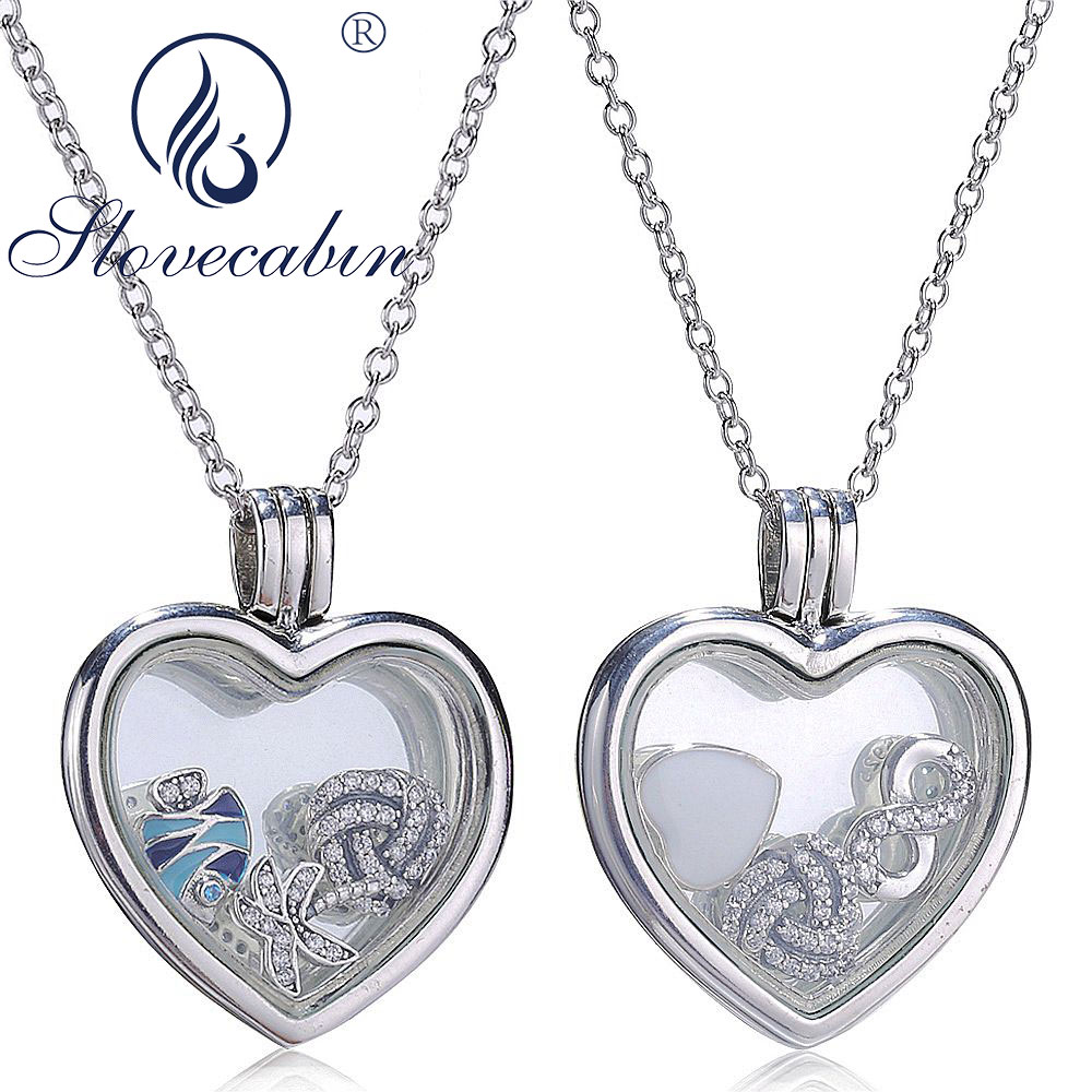 Slovecabin Genuine 925 Sterling Silver Heart Floating Pendant Choker Necklace For Women High Quality Silver Jewelry