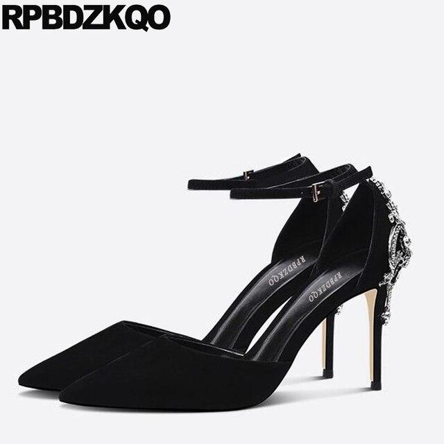 7c28c61146 Formatura Tamanho 33 4 34 Mulher Camurça Alça De Tornozelo Jóia Sandálias  Diamante Marca Moda Sapatos