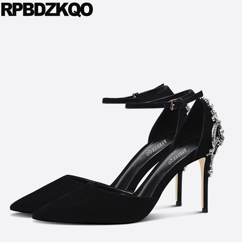 Prom Size 33 4 34 Women Suede Ankle Strap Jewel Sandals Diamond Fashion Shoes Brand Rhinestone Black Thin Crystal Pointed Toe карабин black diamond black diamond rocklock twistlock