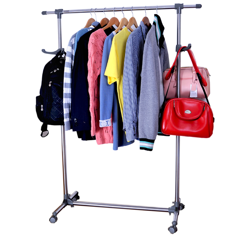 BAOYOUNI Rolling Telescopic Garment Rack with Hat Hanger DQ-0057E