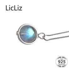 LicLiz 2019 New 925 Sterling Silver Natural Moonstone Pendant Necklace for Women White Gold Jewelry Box Chain LN0439