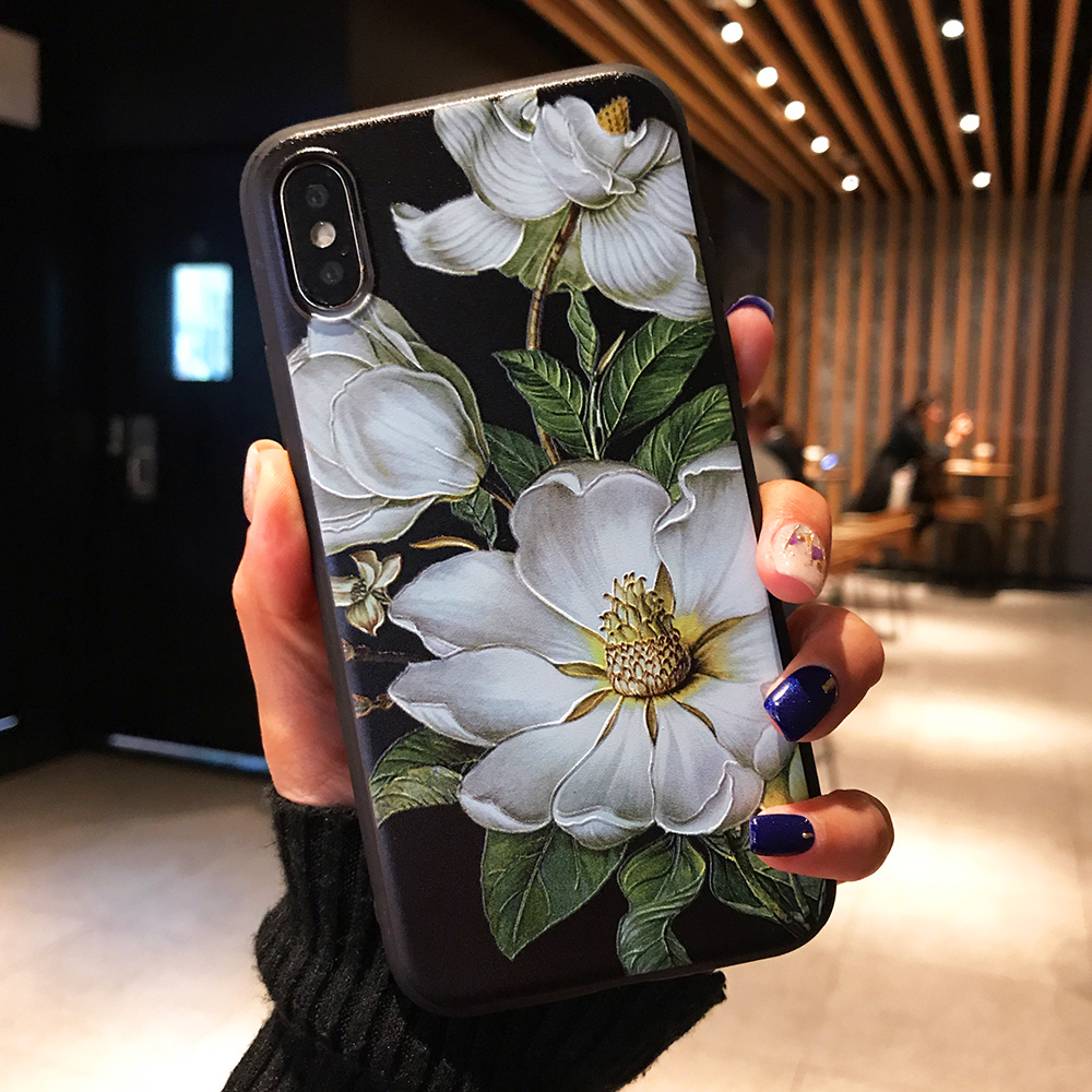 KIPX1071B_1_JONSNOW 3D Flower Emboss Case for iPhone 6 6S 7 8 Plus Painted Phone Cover for iPhone X XR XS Max Soft Cases