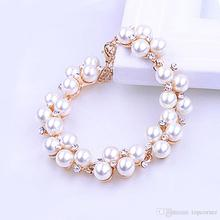 12pcs/lot Charming Retro Faux Pearl Rhinestone Bracelet Alloy Beaded Wrist Chain Girls Party Gifts JBS110 цена